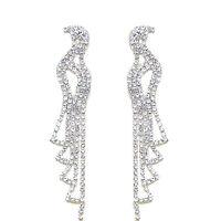 Bridal Diamante Shiny Long Drop Dangle Earrings Jewellery for Weddings E573