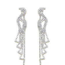 Earrings Jewellery for Weddings E573 Bridal Diamante Shiny Long Drop Dangle