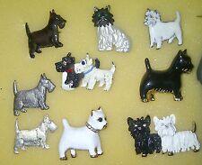 VINTAGE BLACK/WHITE SCOTTIE,SCOTTY,SCOTTISH TERRIER DOG PIN BROOCH COLLECTION