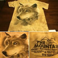 Vtg The Mountain Wolf Tie Dye T-Shirt Large MADE IN USA Cotton Wolves