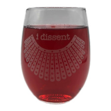 I DISSENT Ruth Bader Ginsburg Notorious RBG Collar Stemless Wine Glass Engraved