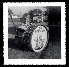"COMIC BOOK NERD BOY JAMS on ""TV HEP CATS"" TOY DRUM SET~ 1950s VINTAGE PHOTO"