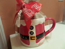 Coca Cola Christmas Gift Embossed Ceramic Santa Mug With Sea Salt Popcorn NEW