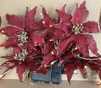 Kringle Express Home Decor 6 Poinsettia Decorative 10' Light Strand - Burgundy