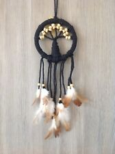12cm Black Rope Tree Of Life Dream Catcher Wood Beads & Brown/Cream Feathers