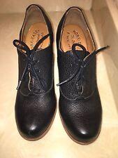 NEW Ladies Korks Black Leather Kork Ease wedge Roana style shoes Size 7.5