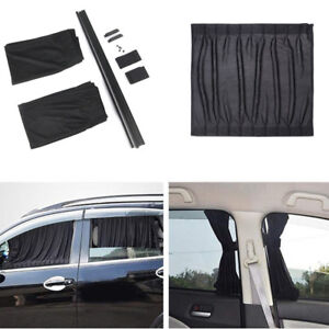 Black Size S Car Side Window Curtain Sunshade Sun Cover Blind with 4x ABS Tracks