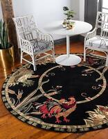 Country Rugs Rooster Black Red Olive Kitchen Farmhouse Classic Rug 4' Round
