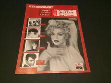 MADONNA TRIXTER GARY U.S. BONDS BMG DIRECT CD CLUB USA MAIL ORDER CATALOG 1991