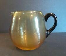 ANTIQUE DURAND ART GLASS TOPAZ/AMBER THREADED GLASS PITCHER, BLACK HANDLE