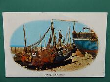 VINTAGE FISHING FLEET HASTINGS SUSSEX OLD USED POSTCARD COLLECTORS 1984