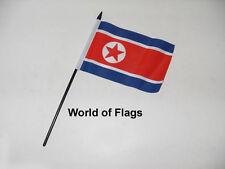 "NORTH KOREA SMALL HAND WAVING FLAG 6"" x 4"" Korean Asia Craft Table Desk Display"