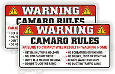 Camaro Rules Warning Stickers Funny Safety Instructions Labels Decals 2-Pack USA