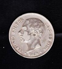 """Spain SILVER COIN ,5 Pesetas, 1885 (87),""""ALFONSO XII"""" , 25 grams"""