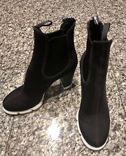 PRADA Black Neoprene Pull On Booties Shoes
