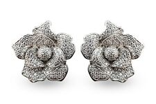 925 Sterling Silver Stud Earrings CZ Flower White Round For Women - Classique