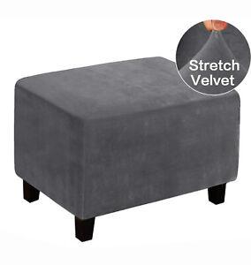Sofa Footstool Ottoman Velvet Cover Elastic Stretch Storage Protector Slipcover