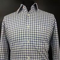 JOOP! Mens Shirt 42 16.5 (XL) Long Sleeve Blue Regular Fit Check Cotton