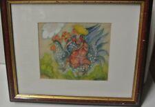 """DEBERDT  FRANCOISE aquarelle """" à cheval  """" H 14.5 x L 18.5 cm environ tbé"""