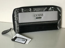 NEW! GUESS AERIAL BLACK GREY SNAKE PRINTED ZIP AROUND ZIPPY CLUTCH WALLET PURSE
