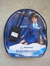 """Boeing Flight Attendant Brunette 11"""" Doll Figure Luggage + Backpack Retired NEW"""