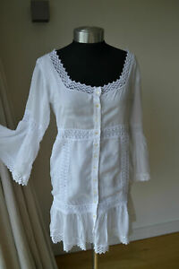 NEW AUTHENTIC MELISSA ODABASH CHLOE WHITE CROCHET KAFTAN / DRESS SIZE MEDIUM