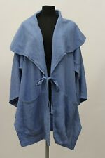 MADE IN ITALY LINEN SUMMER BIG COLLAR TIED KIMONO JACKET AQUA BLUE PLUS SIZE 3