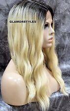 Long Beach Wavy Brown Bleach Blonde Mix Full Lace Front Wig Heat Ok Hair Piece