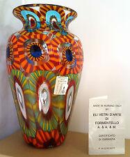"""MURANO~ITALY~ELI VETRI D'ARTE~FORMENTELLO~MURRINE~ART GLASS VASE~7.75""""H~SIGNED"""