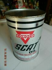 Vintage metal CONOCO Scat 2 Cycle Motor Oil Quart Metal Can - MOTORCYCLE go kart