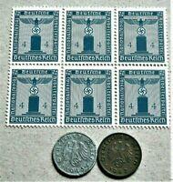 WW2 GERMANY ORIGINAL 3rdREICH ERA BLOCK OF 6 OFFICIAL STAMPS + 2 REICHSPF. 4