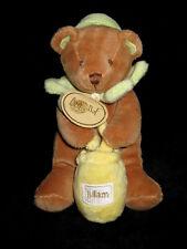 Doudou hochet grelot Ours marron vert pot de miel jaune Miam Babynat' Baby Nat'