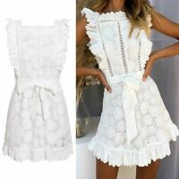 Elegant Embroidery Lace Summer Dress Hollow Out Sashes Ruffle White Women-/