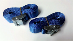 Set Of 2 Buckled Straps Tie Down Lashing Cam Buckle Roof Rack 25mm x 3 mts blue