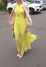 BCBG Caia Chiffon-Pleated Evening Gown Size 6 Yellow