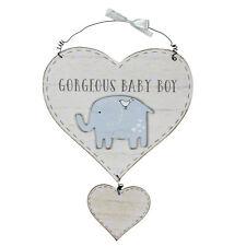 Blue Wooden Heart Door Plaque Elephant Detail