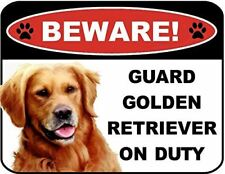 Beware Guard Golden Retriever on Duty (v1) 9 inch x 11.5 inch Laminated Dog Sign