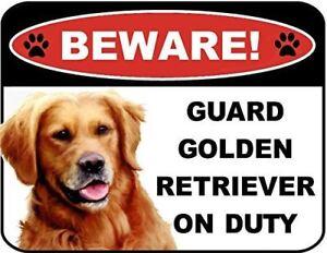 Beware Guard Golden Retriever on Duty (v1) 9 inch x 11.5 inch Laminated Dog Sign