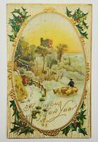 A Joyous New Year Posted Boston Roxbury Station 1909 Antique Vintage Postcard