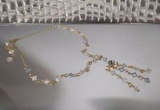 HANDCRAFTED 24 ct CLAD GOLD NECKLACE,BLUE CRYSTAL CHANDELIER STYLE,NEW,AUSTRALIA