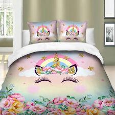Floral Unicorn Quilt Duvet Doona Cover Set Single Queen King Size Eye Bedding