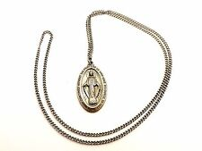 VINTAGE STERLING 1830 OVAL MARY CONCEIVED PENDANT WITH STERLING CHAIN