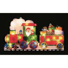 Christmas Metallic Effect Light Up SANTA IN TRAIN /Window/Silhouette/Lights Main