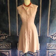 J Crew Blush Pink Super 120s Suiting Wool Shirt Dress SZ 2 Sleeveless Aline $220