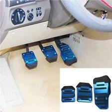 3pcs Set Antideslizante Coche Aleación de Aluminio Base Pedal Azul Cubierta