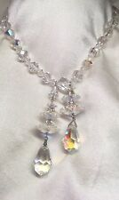 STUNNING Twin Chandelier Drop Clear Sparkling Aurora Borealis Crystal Necklace