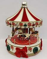"Christmas Carousel - Lights & Music - 17"" -  Red & White - Unique"