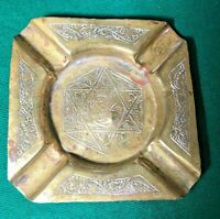 """Antique Hand Made Etched Brass Cigarette Ashtray - 4.25"""" X 4.25 Square"""