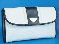 Auth Yves Saint Laurent YSL White Nylon & Black Leather Secondary Clutch Bag