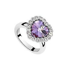 18kt White Gold Plated Heart Bling Ring featuring Tanzanite Swarovski Crystal